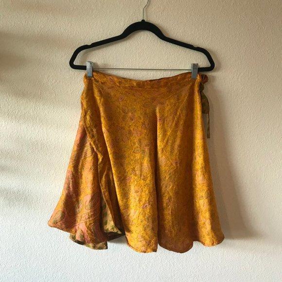 Vintage Silk Reversible Wrap Skirt